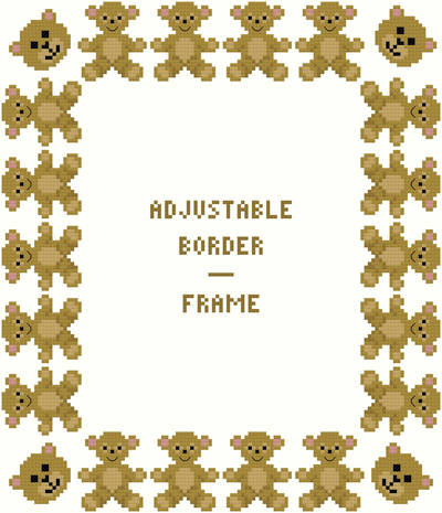 cross stitch pattern Teddy Bear Border/Frame - Adjustable