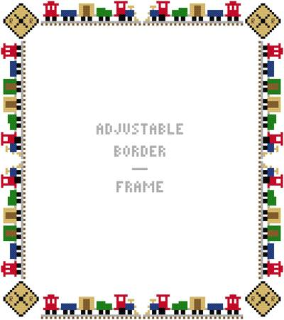 cross stitch pattern Tiny Train Border/Frame - Adjustable