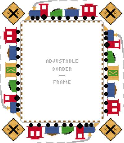 cross stitch pattern Large Train Border/Frame - Adjustable