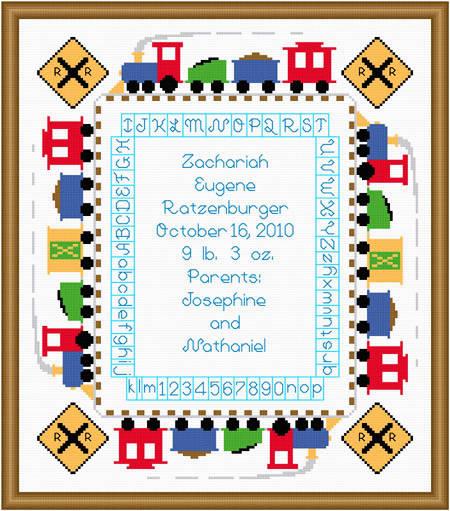 cross stitch pattern Train Baby Sampler