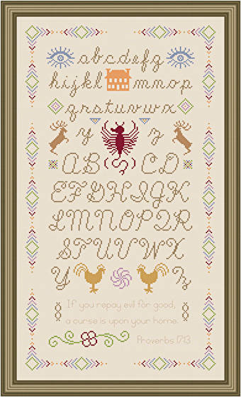 cross stitch pattern Unique Sampler - Multi-color