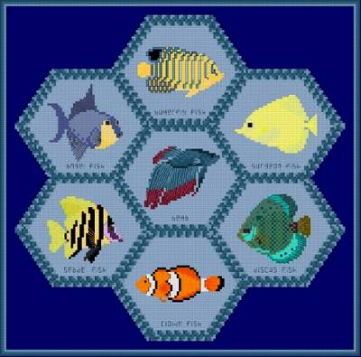 cross stitch pattern Tropical Fish Quilt