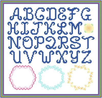 cross stitch pattern Bold Monograms with 3 Borders