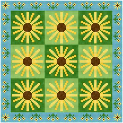 cross stitch pattern Brown Eyed Susans