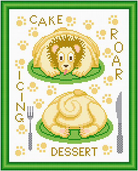 cross stitch pattern Cakes as Critters - Lion