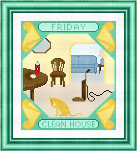 cross stitch pattern Friday - Clean House