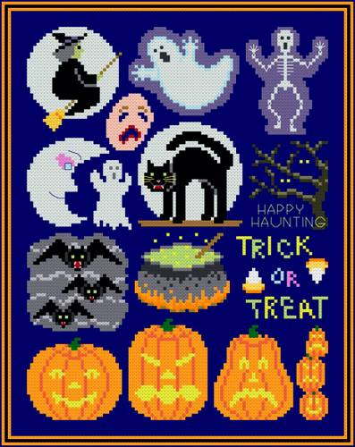 cross stitch pattern Halloween Collection
