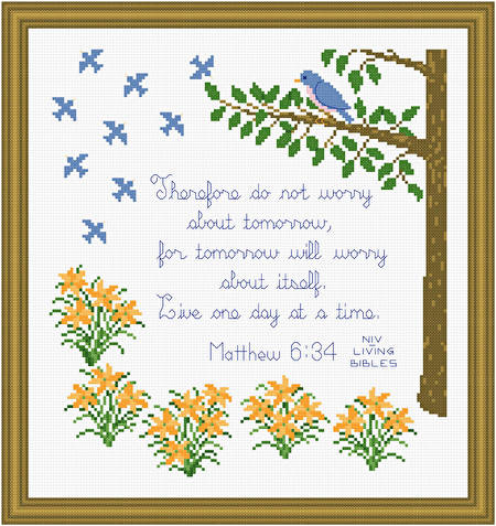 cross stitch pattern Live One Day at a Time