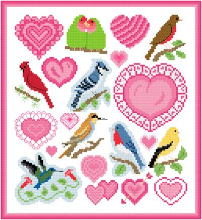 cross stitch pattern Love Bird Images