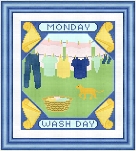 cross stitch pattern Monday - Wash Day