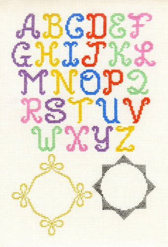 cross stitch pattern Monograms with 2 Borders
