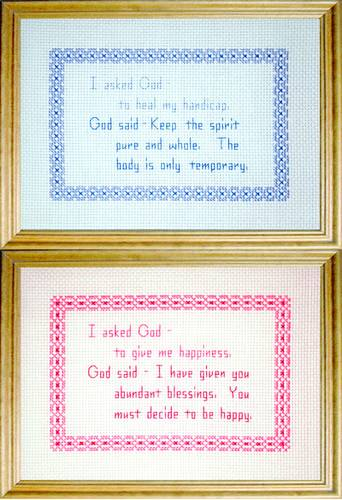 cross stitch pattern God Messages 1 - Happiness / Handicap