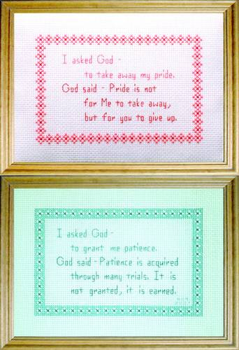 cross stitch pattern God Messages 2 - Patience / Pride