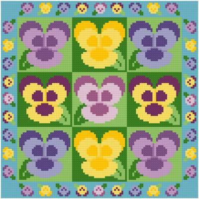 cross stitch pattern Pansies