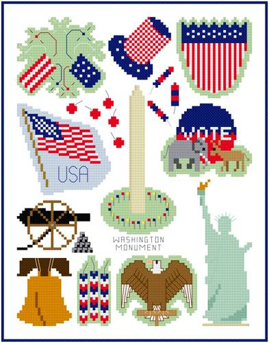 cross stitch pattern Patriotic Images