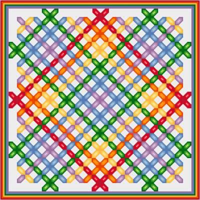Rainbow Lattice Quilt Cross Stitch Pattern Quilts