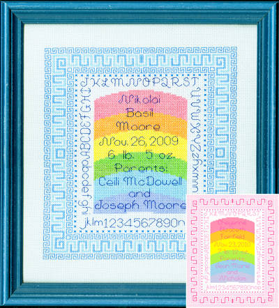 cross stitch pattern Rainbow Baby Sampler