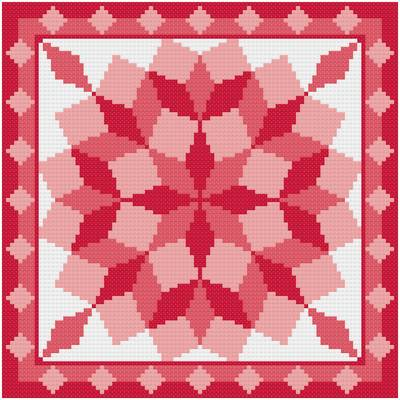 Round Tumbling Blocks Cross Stitch Pattern Quilts