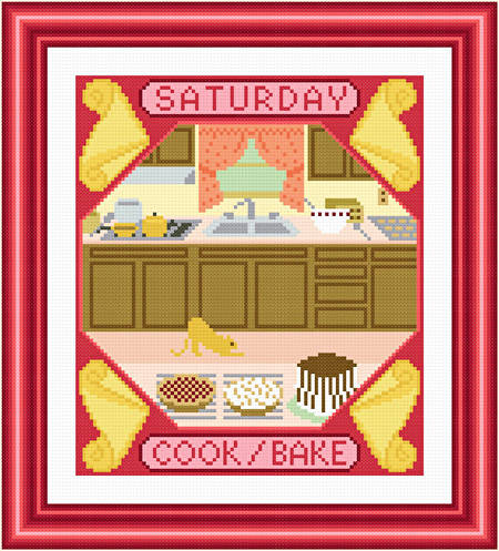 cross stitch pattern Saturday - Cook and Bake