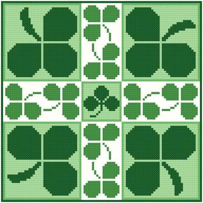 cross stitch pattern Shamrocks