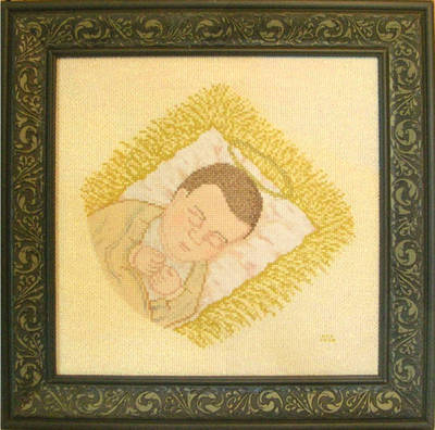 cross stitch pattern Asleep in a Manger