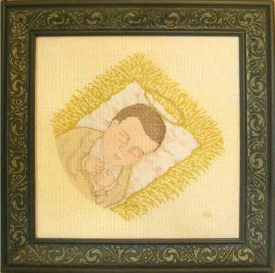 cross stitch pattern Asleep in a Manger