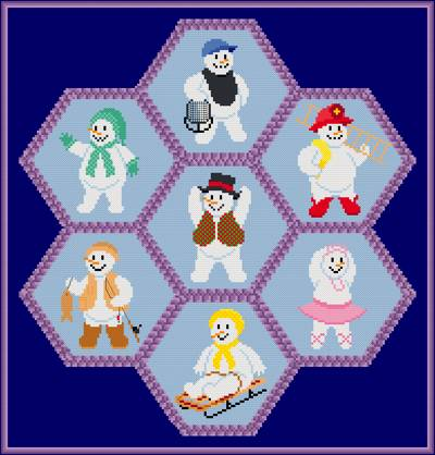 cross stitch pattern Snow People Quilt