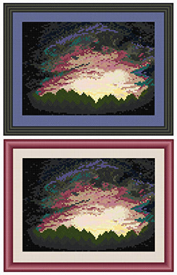 cross stitch pattern Sunset Over The Trees