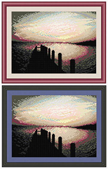 cross stitch pattern Sunset Over The Water