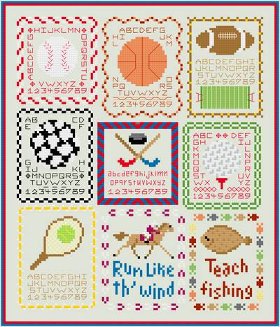cross stitch pattern Sport Mini-Sampler Collection