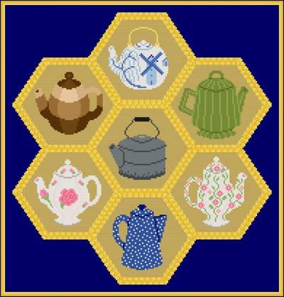 cross stitch pattern Teapots