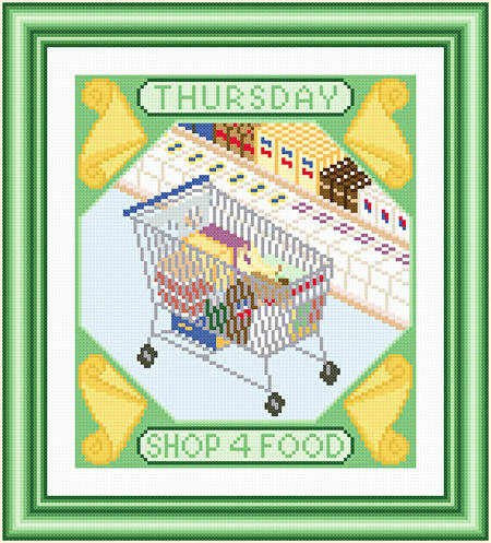cross stitch pattern Thursday - Shop for Food