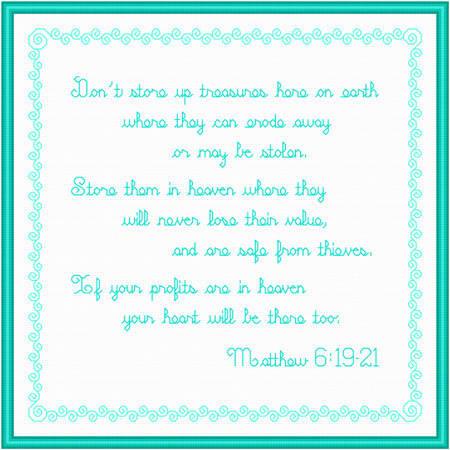 cross stitch pattern Treasures in Heaven