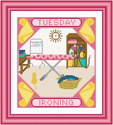 cross stitch pattern Tuesday - Ironing