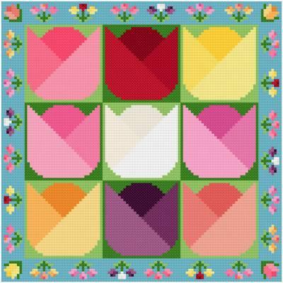 cross stitch pattern Tulips