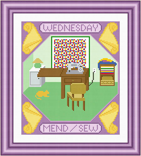 cross stitch pattern Wednesday - Mend  and Sew