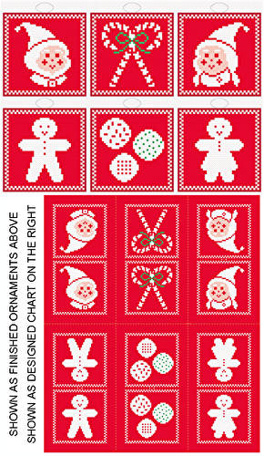 cross stitch pattern Christmas Icons - 6 Ornament Set