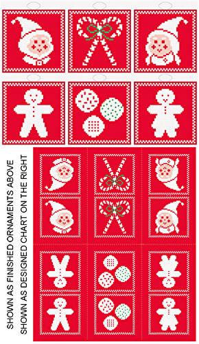 cross stitch pattern Christmas Icons - 6 Ornament Set