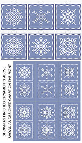 cross stitch pattern Snowflakes - 6 Ornament Set