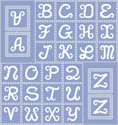 cross stitch pattern Script Monogram Ornaments