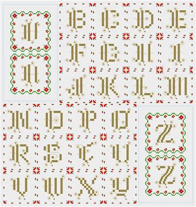cross stitch pattern Ornate Monograms - Poinsettia Edge