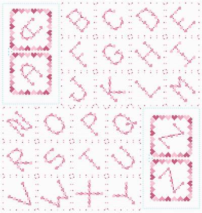 cross stitch pattern Heart Monograms - Diagonal