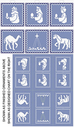 cross stitch pattern 3 Kings Plus - 6 Ornament Set