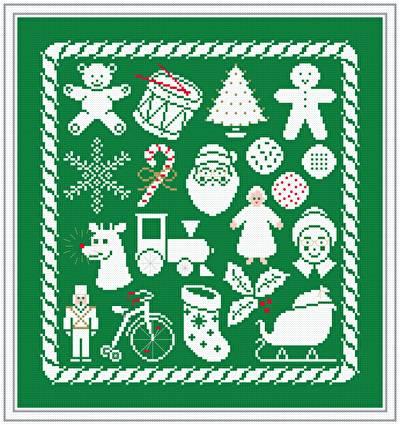 cross stitch pattern Christmas Collage