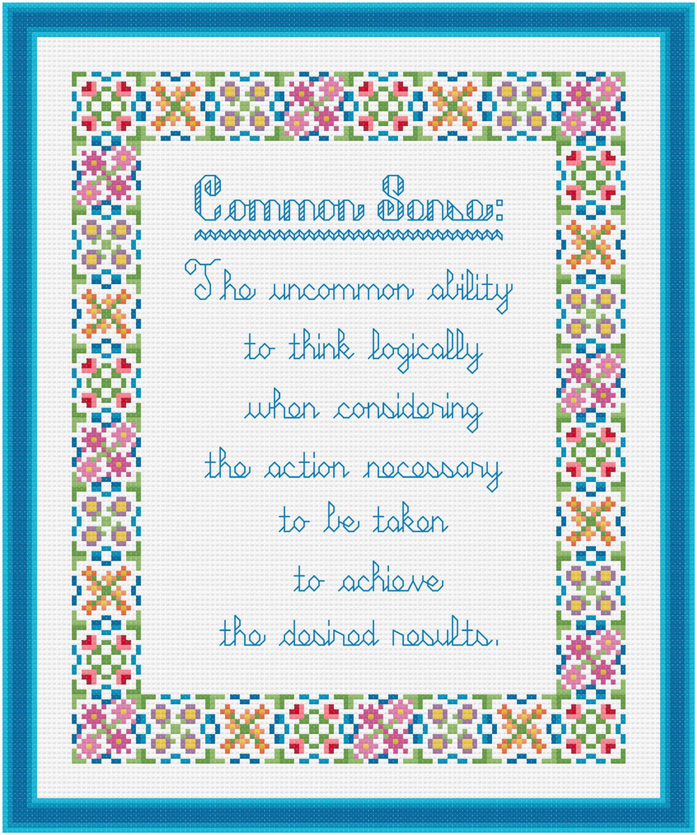 cross stitch pattern Common Sense