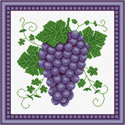 cross stitch pattern Cluster of Grapes