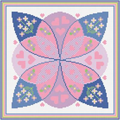 cross stitch pattern Hearts and Flowers