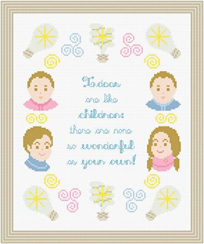 cross stitch pattern Ideas Are Like Children