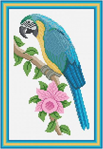 cross stitch pattern Blue and Gold Macaw