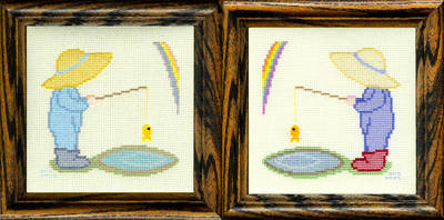cross stitch pattern Puddles Are for Fishing